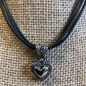 """9"""" Sterling Heart on 3 Cord Black Leather"""